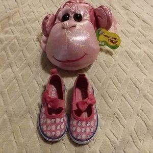 Kids Hello Kitty sequin shoes and monkey p…